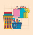 laundry hanger clothes and basket detergents vector image