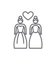 lesbian marriage line icon concept lesbian vector image vector image