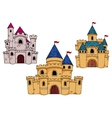 Medieval castles with towers and flags vector image vector image