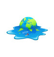 melting earth people help in seaconcept globe vector image