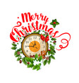 merry christmas greeting clock icon vector image vector image