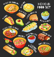 mexican food set chalkboard vector image vector image