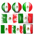 Mexico flag in many design vector image vector image