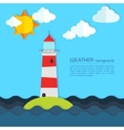 Modern weather background with lighthouse sun and vector image vector image