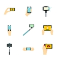 Photo on mobile phone icons set flat style vector image vector image