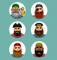 pirates avatars collection set of portraits of vector image vector image