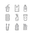 plastic recycling items simple line icon set vector image