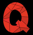 q red alphabet letter isolated on black background vector image