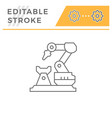 robotic arm machine line icon vector image vector image