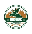Round badge with elk for hunting club design vector image vector image