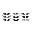 set black wings icons logos vector image