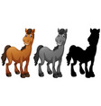 set of horse character vector image