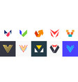 set of letter v logo vector image
