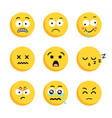 set of sad smiling emoticon faces vector image vector image