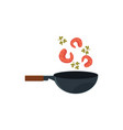 shrimps prawns and parsley leaves cooking in wok vector image