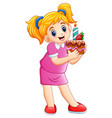 smiling little girl holding birthday cake isolated vector image