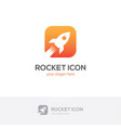 square rocket icon vector image vector image