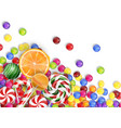 sweets of candies with lollipop orange juice vector image vector image