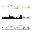 Toledo OH skyline linear style with rainbow vector image vector image