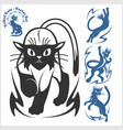 tribal cats for tattoo - set vector image vector image
