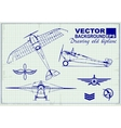 Vintage airplanes drawing on graph paper vector image vector image