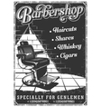 Vintage barbershop poster with barber chair vector image vector image