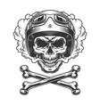 vintage motorcyclist skull in smoke cloud vector image vector image