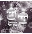 Watercolor black blob Ramadan kareem vector image vector image