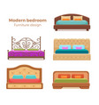 set of colorful beds with pillows and blankets vector image
