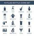 16 bottle icons vector image vector image