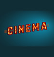 3d retro cinema sign vector image vector image