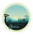 african men and women against african sunset vector image vector image