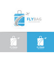 bag and plane logo combination baggage vector image
