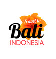bali travel logo with tropical beautiful flower vector image