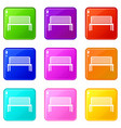 bench icons 9 set vector image vector image