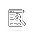 black thin line online flight booking icon vector image