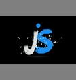 blue white alphabet letter combination js j s