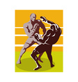 boxer connecting knockout punch vector image vector image