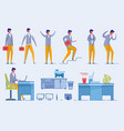 businessman character set with office furniture vector image