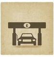 car at gas station old background vector image vector image