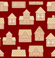 cartoon festive gingerbread houses seamless vector image vector image
