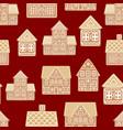 cartoon festive gingerbread houses seamless vector image