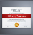certificate template design in red and white vector image vector image