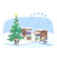 christmas funfair flat people walking xmas vector image vector image