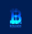 digital bitcoins symbol with light effect vector image vector image