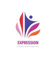 expression human colored petals business logo vector image vector image