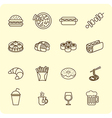 Fast food outline icon set vector image vector image