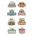 fishery gear fishing club retro icons rod and fish vector image vector image