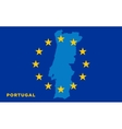 Flag of European Union with Portugal on background vector image vector image