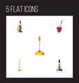 flat icon mop set of equipment cleaner bucket vector image vector image